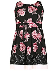 Samya Floral Print Dress with Lace Trim
