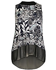 Amy K Print contrast tube neck top