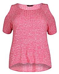 Amy K Cold shoulder pink rib top