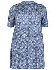 Amy K Tile Print Roll Neck Dress