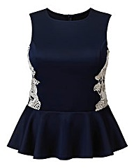 AX Paris Navy Crochet Peplum Top