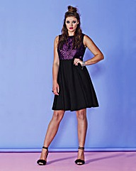 Simply Be Metallic Lace Skater Dress