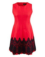 AX Paris Crochet Lace Trim Skater Dress