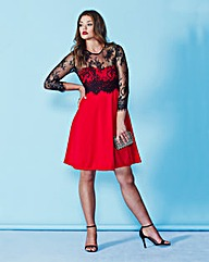 AX Paris Long Sleeve Red Skater Dress