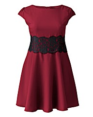 AX Paris Berry Lace Waist Skater Dress