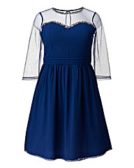 Little Mistress Navy Bead Trim Dress
