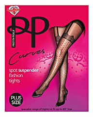 Curves Mock Spot & Lace Suspender Tight