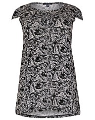 Samya Cap Sleeve Boarder Print Tunic Top
