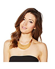 Mood Polished Gold Metal Collar Necklace