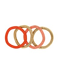 Mood Orange Tonal Mesh Bracelets Set