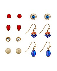 Mood Red And Blue Multi Pack Earring Set
