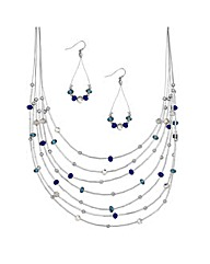 Mood Multi Row Necklace And Earring Set