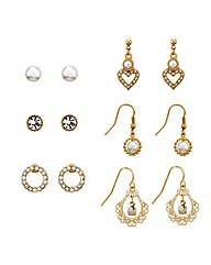 Mood Set Of Six Crystal Pearl Earrings