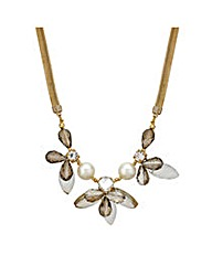 Mood Pearl Facet Bead Flower Necklace