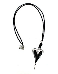 Leather Cord Heart Necklace
