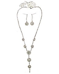 Diamnate Flower Jewellery Set