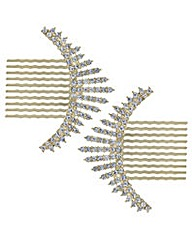 Mood Gold crystal burst hair comb set