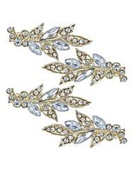 Mood Gold ornate leaf hair clip set