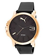 Puma Black Dial and Rose Tone Case Watch