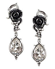 Alchemy Gothic Black Rose Earrings