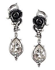 Alchemy Gothic Black Rose Earrings