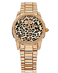 Lipsy Rose-tone Animal Print Watch