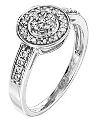 9 Carat White Gold Diamond Halo Ring