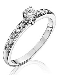 9Ct White Gold 1/2 Carat Diamond Ring