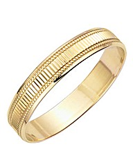 9 Carat Gold Ladies Etched Wedding Band