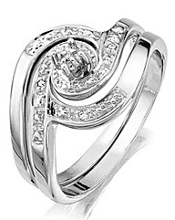 Sterling Silver and Diamond Set Duo Ring