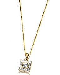 9 Carat Gold Diamond Set Square Pendant