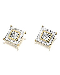 9 Carat Gold Diamond Set Square Earrings