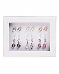 Sterling Silver, Pearl & Crystal Earring