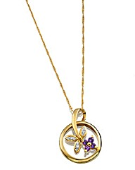 9 Ct Amethyst & Diamond Set Pendant