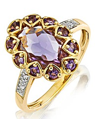 9 Ct Gold Pink Amethyst & Diamond Ring