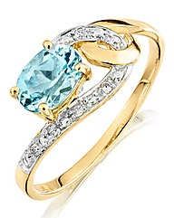 9 Carat Gold Blue Topaz Ring
