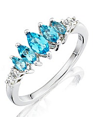 9 Carat Five Stone Blue Topaz Ring