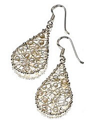 Sterling Silver Teardrop Pearl Earrings