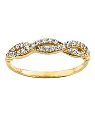 9 Carat Gold Cubic Zirconia Twist Ring