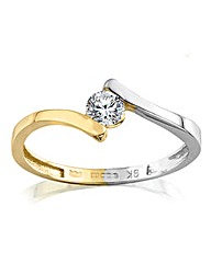 9 Carat Two-tone Gold CZ Twist Ring