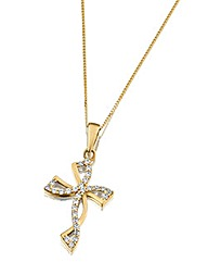9 Carat CZ Fancy Cross Pendant