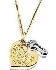 9 Carat Gold Heart Footprint Pendant