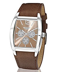 Label J Brown Strap Chrono-Style Watch
