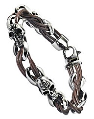 Stainless Steel Leather Skull Bracelet