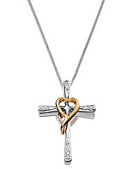 Sterling Silver Two-tone Cross Pendant