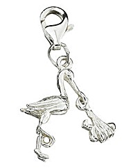 Sterling Silver Stork and Baby Charm
