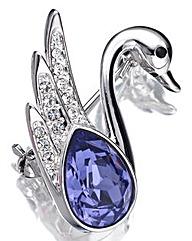 Spangles Crystal Swan Brooch