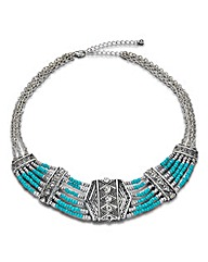 Tribal Beaded Bib Necklace