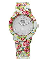 Ladies Flower Print Bracelet Watch