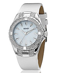 Seksy Ladies White Strap Watch